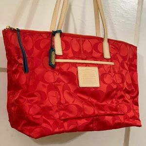 Red Coach Handbag Tote